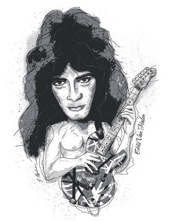 Eddie Van Halen Poster featuring the digital art Eddie Van Halen by Gary Bodnar