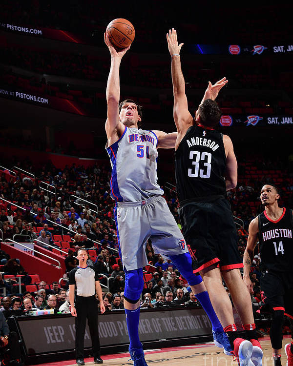 Nba Pro Basketball Poster featuring the photograph Houston Rockets V Detroit Pistons by Chris Schwegler