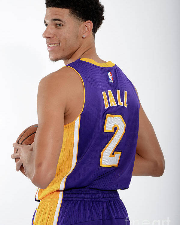 Following Poster featuring the photograph Los Angeles Lakers Introduce Lonzo Ball by Andrew D. Bernstein