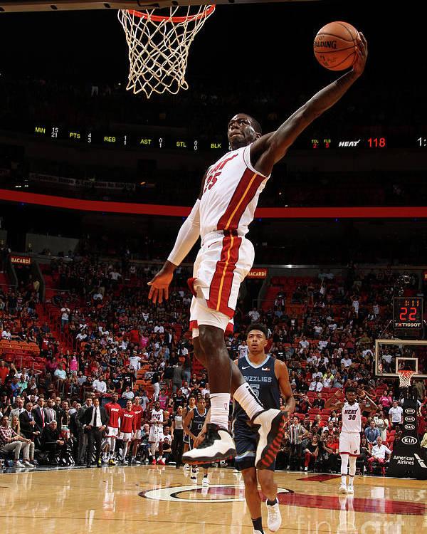 Nba Pro Basketball Poster featuring the photograph Memphis Grizzlies V Miami Heat by Oscar Baldizon