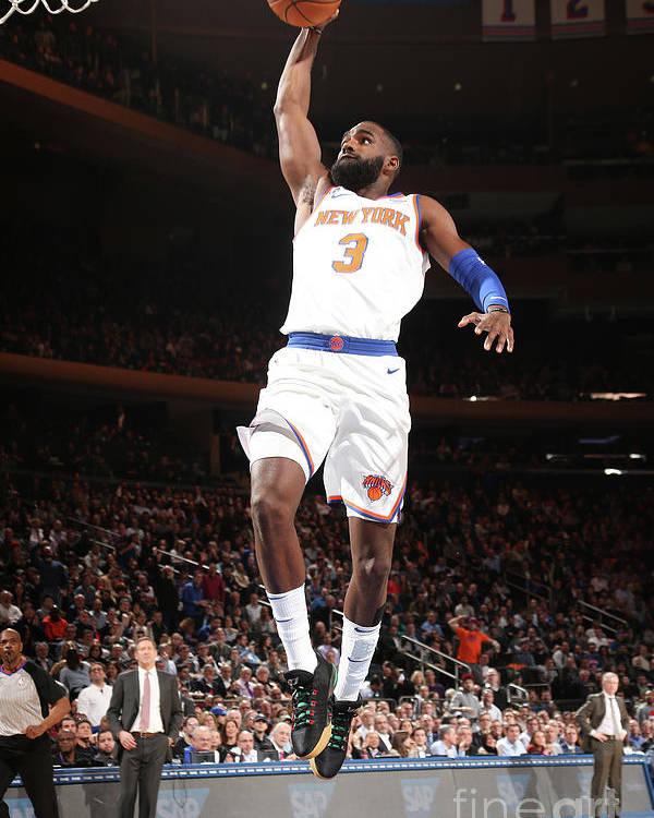 Tim Hardaway Jr. Poster featuring the photograph Milwaukee Bucks V New York Knicks by Ned Dishman