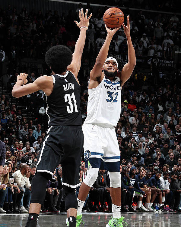 Nba Pro Basketball Poster featuring the photograph Minnesota Timberwolves V Brooklyn Nets by Nathaniel S. Butler