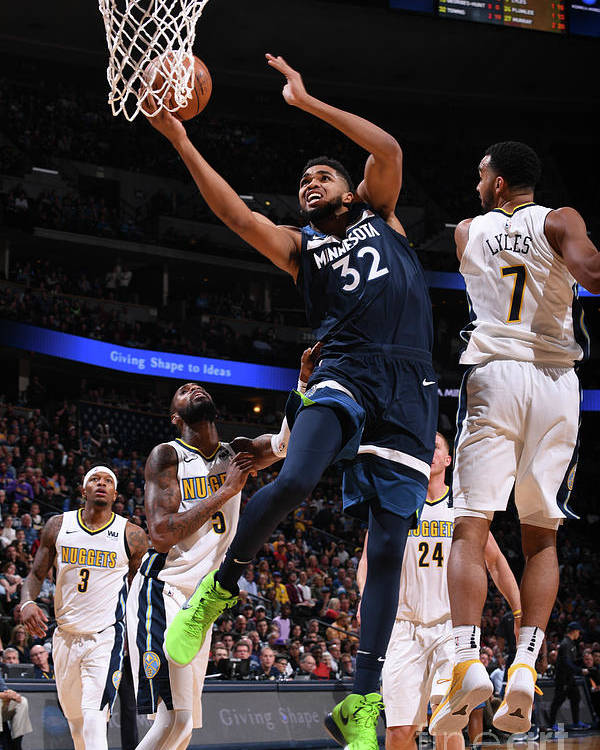 Nba Pro Basketball Poster featuring the photograph Minnesota Timberwolves V Denver Nuggets by Bart Young
