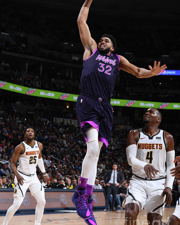 Nba Pro Basketball Poster featuring the photograph Minnesota Timberwolves V Denver Nuggets by Garrett Ellwood