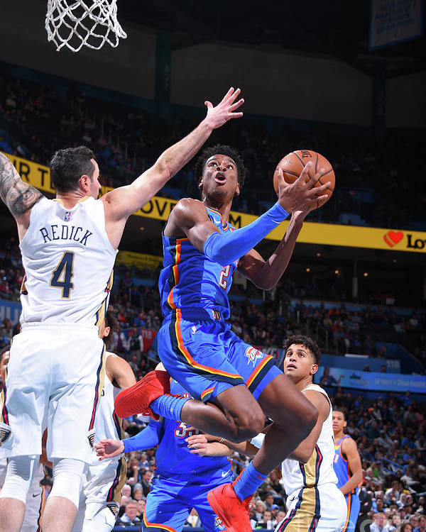 Nba Pro Basketball Poster featuring the photograph New Orleans Pelicans V Oklahoma City by Bill Baptist