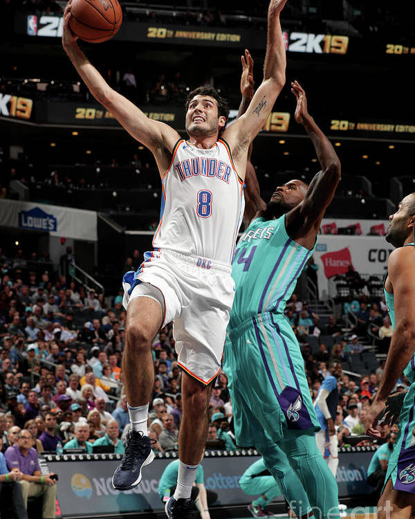 Nba Pro Basketball Poster featuring the photograph Oklahoma City Thunder V Charlotte by Kent Smith