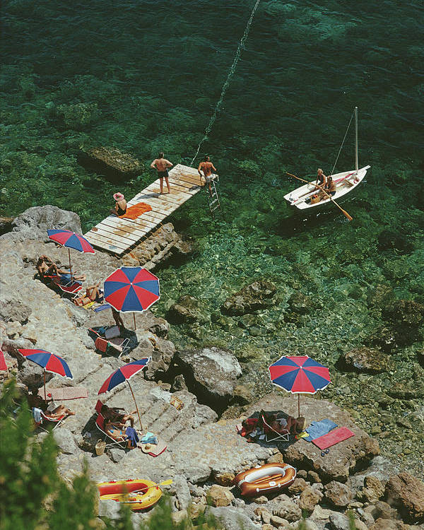 People Poster featuring the photograph Porto Ercole by Slim Aarons
