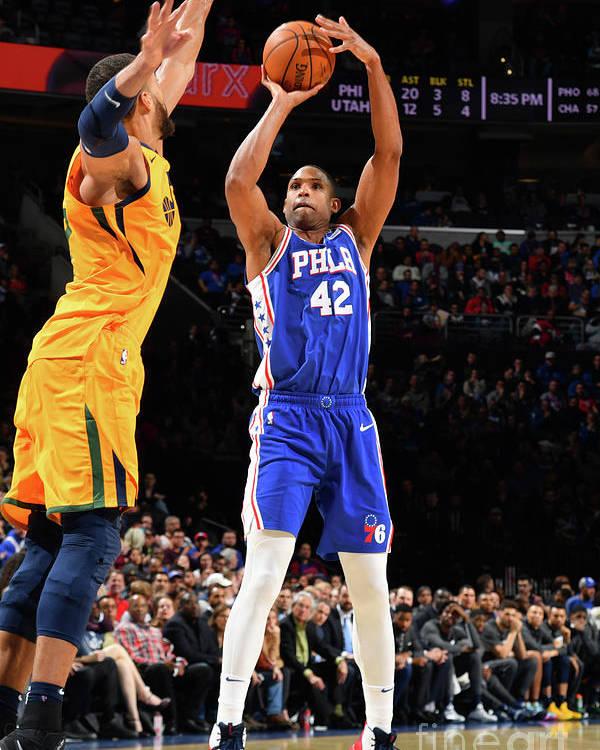 Nba Pro Basketball Poster featuring the photograph Utah Jazz V Philadelphia 76ers by Jesse D. Garrabrant