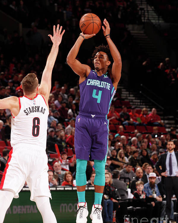Nba Pro Basketball Poster featuring the photograph Charlotte Hornets V Portland Trail by Cameron Browne