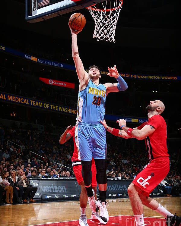 Jusuf Nurkić Poster featuring the photograph Denver Nuggets V Washington Wizards by Ned Dishman