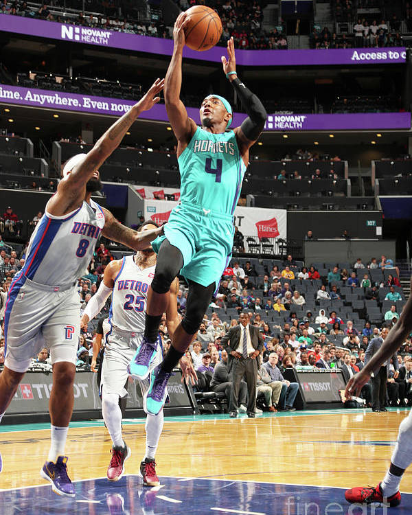 Nba Pro Basketball Poster featuring the photograph Detroit Pistons V Charlotte Hornets by Kent Smith