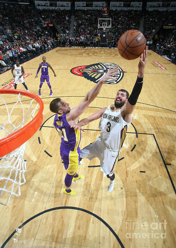 Smoothie King Center Poster featuring the photograph Los Angeles Lakers V New Orleans by Layne Murdoch