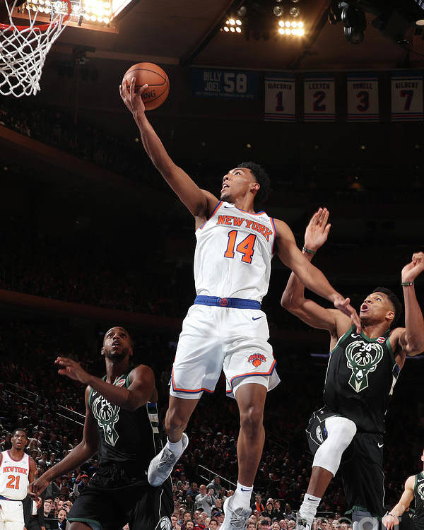 Nba Pro Basketball Poster featuring the photograph Milwaukee Bucks V New York Knicks by Nathaniel S. Butler
