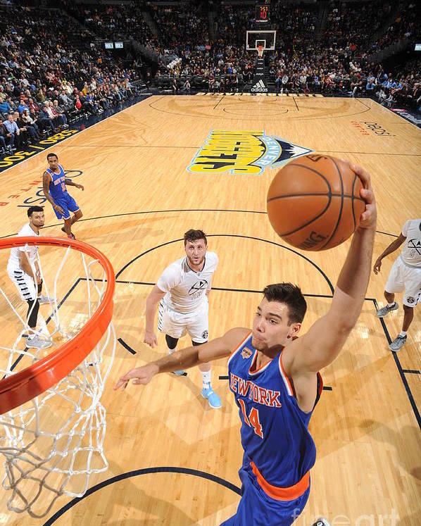 Guillermo Hernangómez Geuer Poster featuring the photograph New York Knicks V Denver Nuggets by Garrett Ellwood