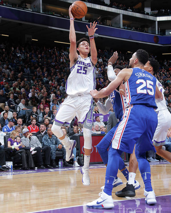 Nba Pro Basketball Poster featuring the photograph Philadelphia 76ers V Sacramento Kings by Rocky Widner