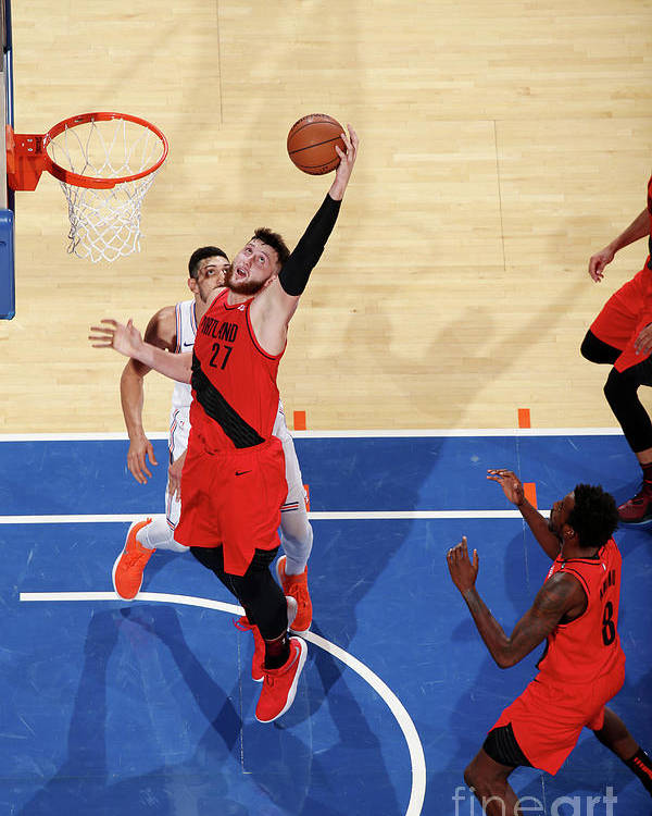 Jusuf Nurkić Poster featuring the photograph Portland Trail Blazers V New York Knicks by Nathaniel S. Butler
