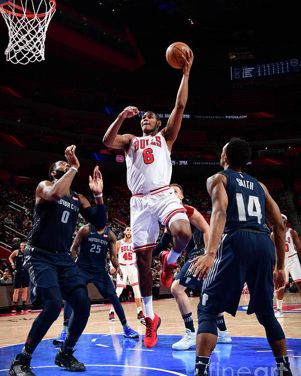 Nba Pro Basketball Poster featuring the photograph Chicago Bulls V Detroit Pistons by Chris Schwegler