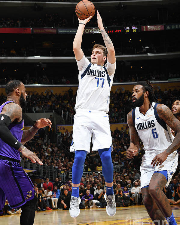 Nba Pro Basketball Poster featuring the photograph Dallas Mavericks V Los Angeles Lakers by Andrew D. Bernstein