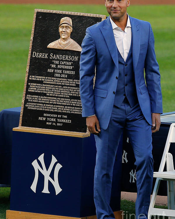 People Poster featuring the photograph Derek Jeter Ceremony by Rich Schultz