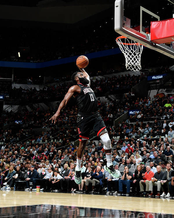 Nba Pro Basketball Poster featuring the photograph Houston Rockets V San Antonio Spurs by Logan Riely