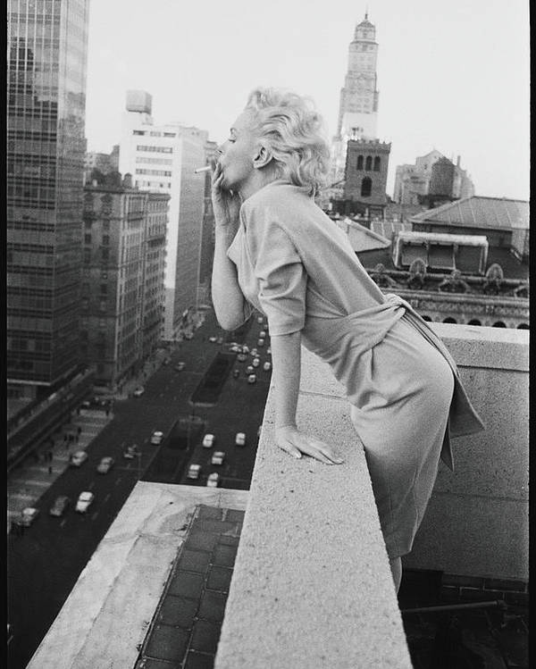Smoking Poster featuring the photograph Marilyn On The Roof by Michael Ochs Archives