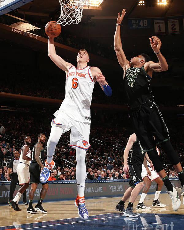 Nba Pro Basketball Poster featuring the photograph Milwaukee Bucks V New York Knicks by Ned Dishman