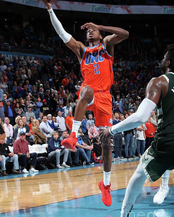 Nba Pro Basketball Poster featuring the photograph Milwaukee Bucks V Oklahoma City Thunder by Zach Beeker
