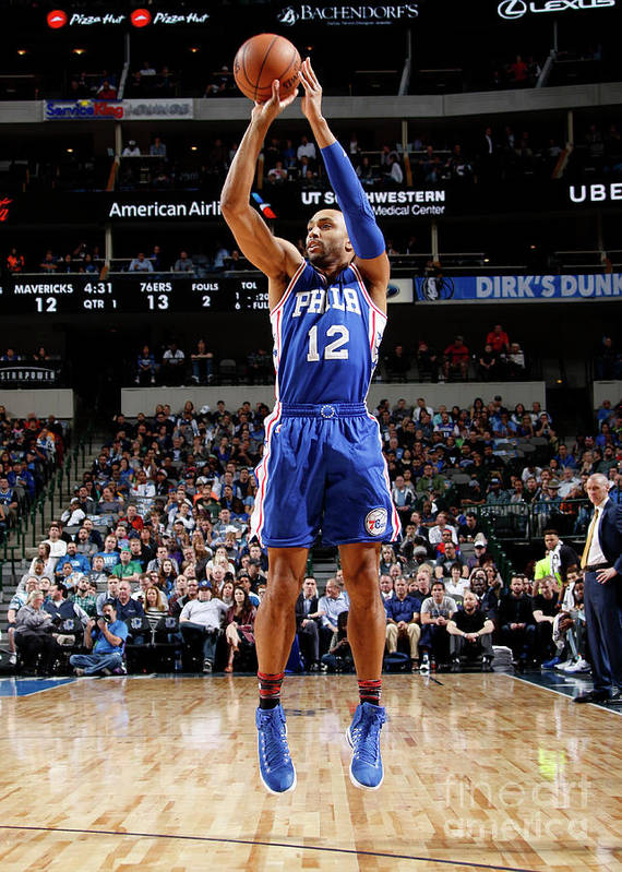 Nba Pro Basketball Poster featuring the photograph Philadelphia 76ers V Dallas Mavericks by Danny Bollinger