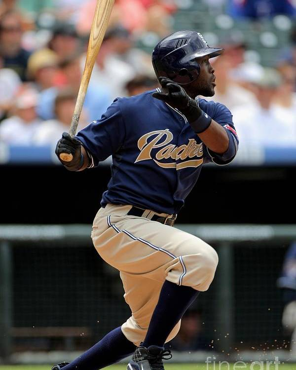 Tony Gwynn Jr. Poster featuring the photograph San Diego Padres V Colorado Rockies by Doug Pensinger