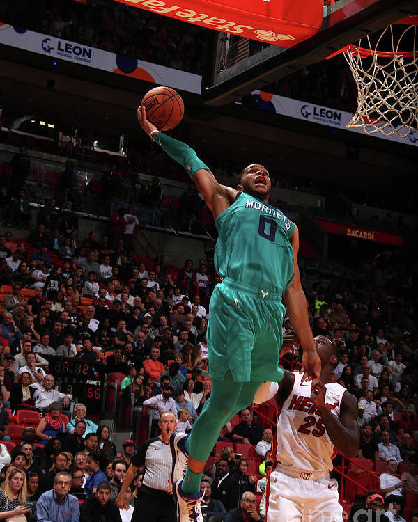 Nba Pro Basketball Poster featuring the photograph Charlotte Hornets V Miami Heat by Issac Baldizon