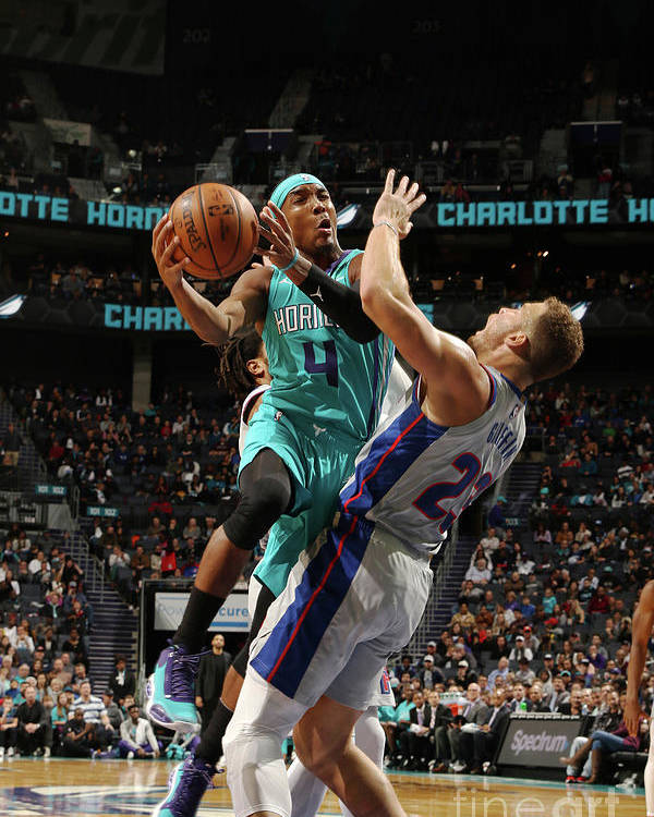Nba Pro Basketball Poster featuring the photograph Detroit Pistons V Charlotte Hornets by Brock Williams-smith