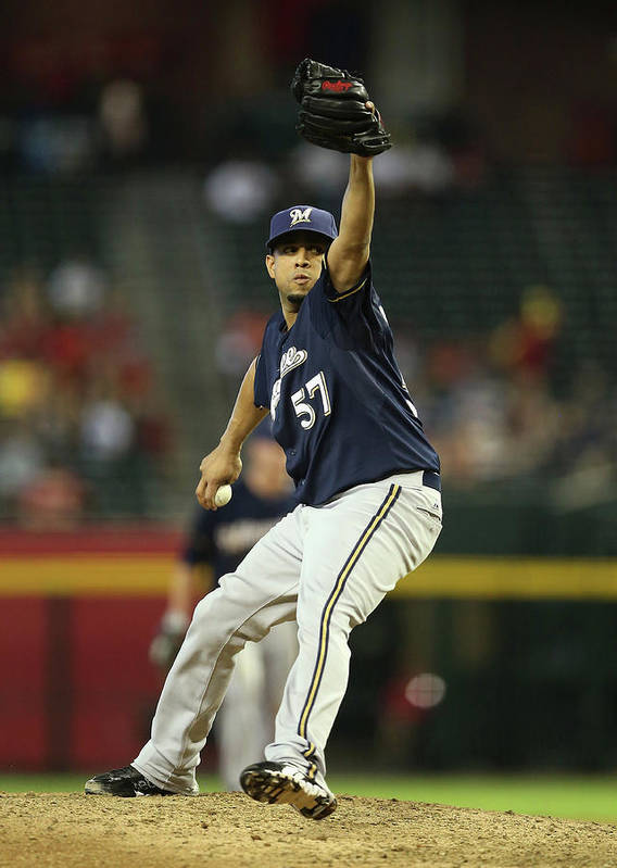Relief Pitcher Poster featuring the photograph Milwaukee Brewers V Arizona Diamondbacks by Christian Petersen