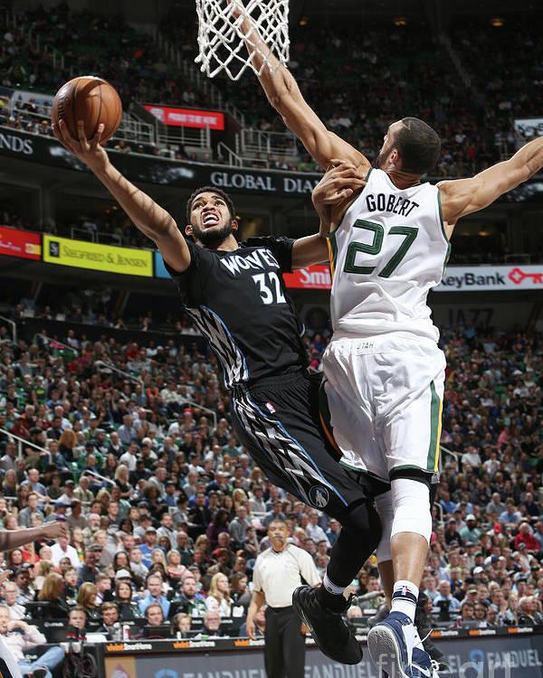 Nba Pro Basketball Poster featuring the photograph Minnesota Timberwolves V Utah Jazz by Melissa Majchrzak