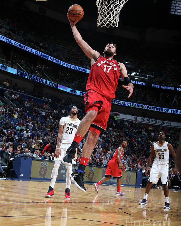 Smoothie King Center Poster featuring the photograph Toronto Raptors V New Orleans Pelicans by Layne Murdoch Jr.