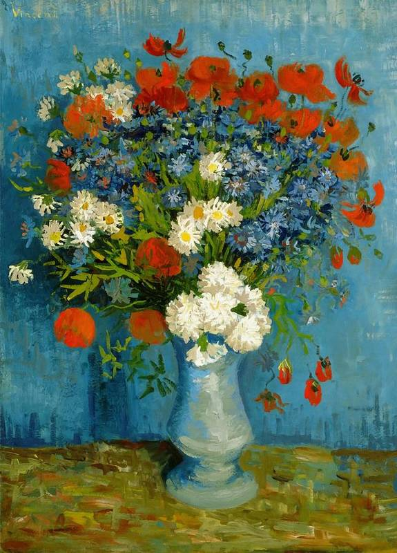 Vincent Van Gogh Poster featuring the painting Vase With Cornflowers And Poppies by Vincent Van Gogh