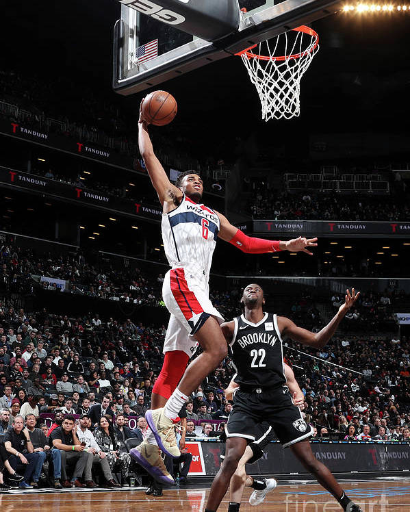 Nba Pro Basketball Poster featuring the photograph Washington Wizards V Brooklyn Nets by Nathaniel S. Butler