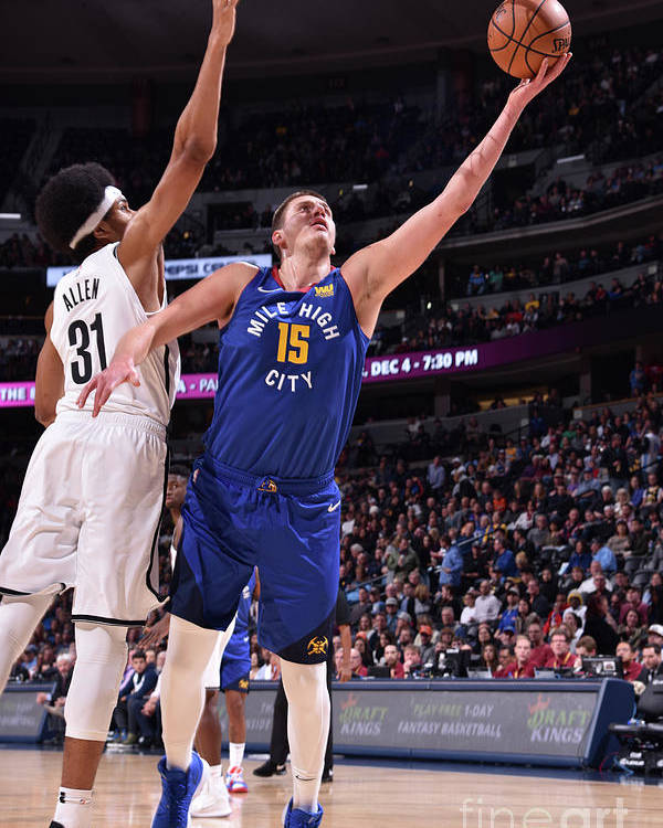Nba Pro Basketball Poster featuring the photograph Brooklyn Nets V Denver Nuggets by Garrett Ellwood