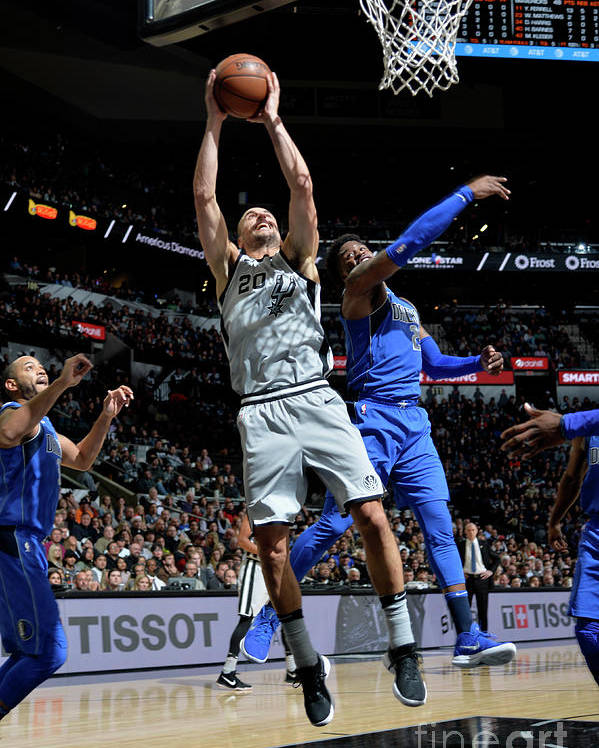 Nba Pro Basketball Poster featuring the photograph Dallas Mavericks V San Antonio Spurs by Mark Sobhani