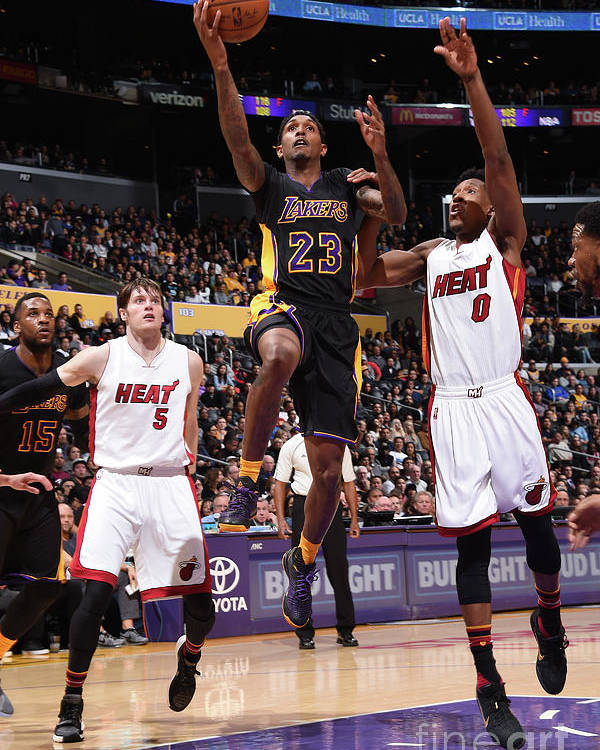 Nba Pro Basketball Poster featuring the photograph Miami Heat V Los Angeles Lakers by Andrew D. Bernstein