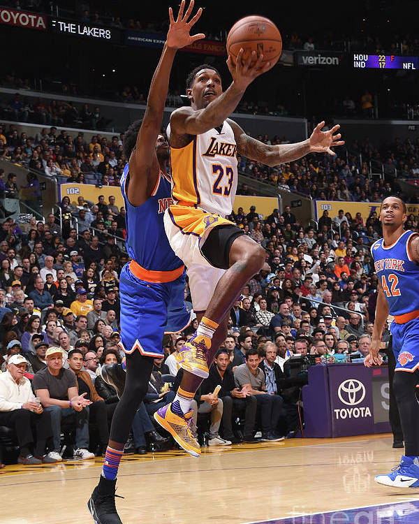 Nba Pro Basketball Poster featuring the photograph New York Knicks V Los Angeles Lakers by Andrew D. Bernstein