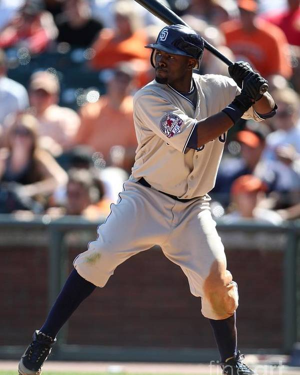 Tony Gwynn Jr. Poster featuring the photograph San Diego Padres V San Francisco Giants by Brad Mangin
