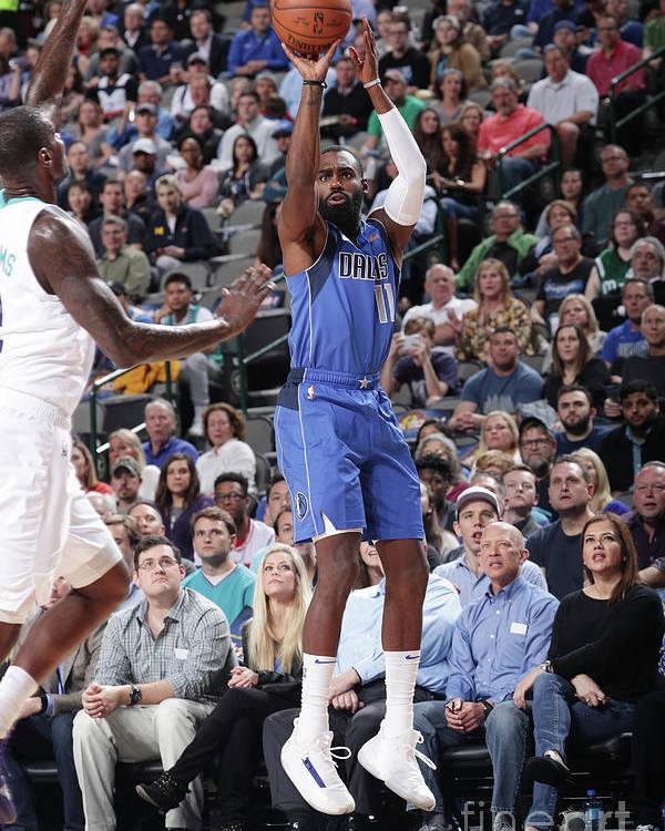 Tim Hardaway Jr. Poster featuring the photograph Charlotte Hornets V Dallas Mavericks by Glenn James