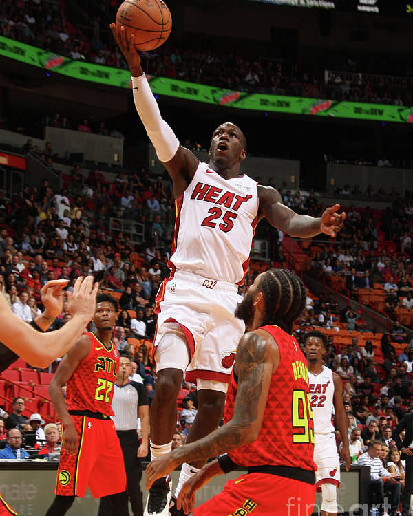 Nba Pro Basketball Poster featuring the photograph Atlanta Hawks V Miami Heat by Oscar Baldizon