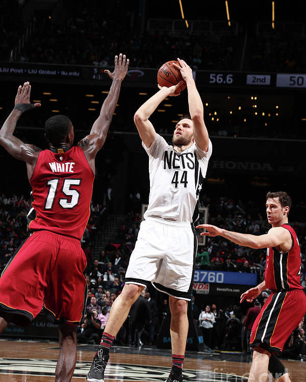 Nba Pro Basketball Poster featuring the photograph Miami Heat V Brooklyn Nets by Nathaniel S. Butler
