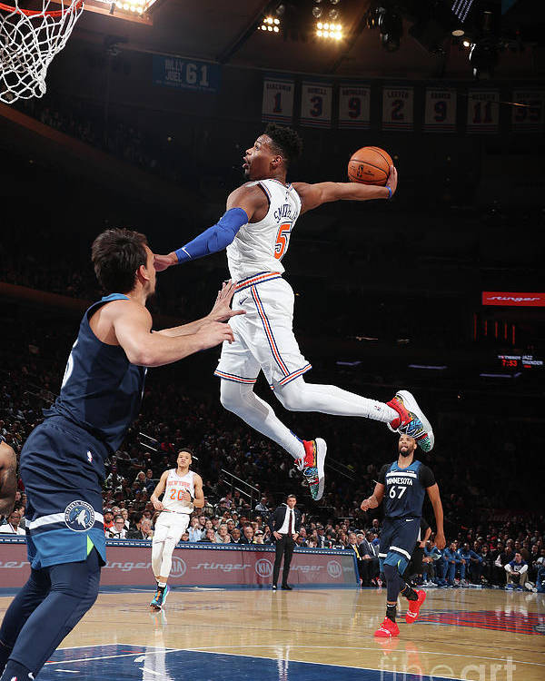 Nba Pro Basketball Poster featuring the photograph Minnesota Timberwolves V New York Knicks by Nathaniel S. Butler