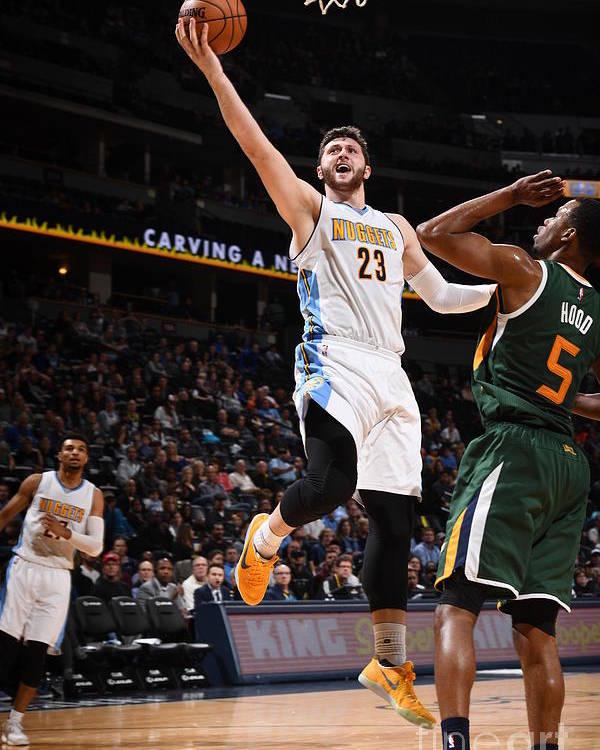 Jusuf Nurkić Poster featuring the photograph Utah Jazz V Denver Nuggets by Garrett Ellwood