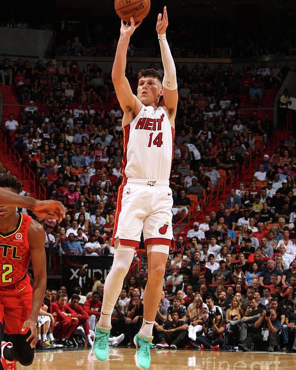 Tyler Herro Poster featuring the photograph Atlanta Hawks V Miami Heat by Oscar Baldizon