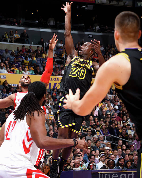 Andre Ingram Poster featuring the photograph Houston Rockets V Los Angeles Lakers by Andrew D. Bernstein