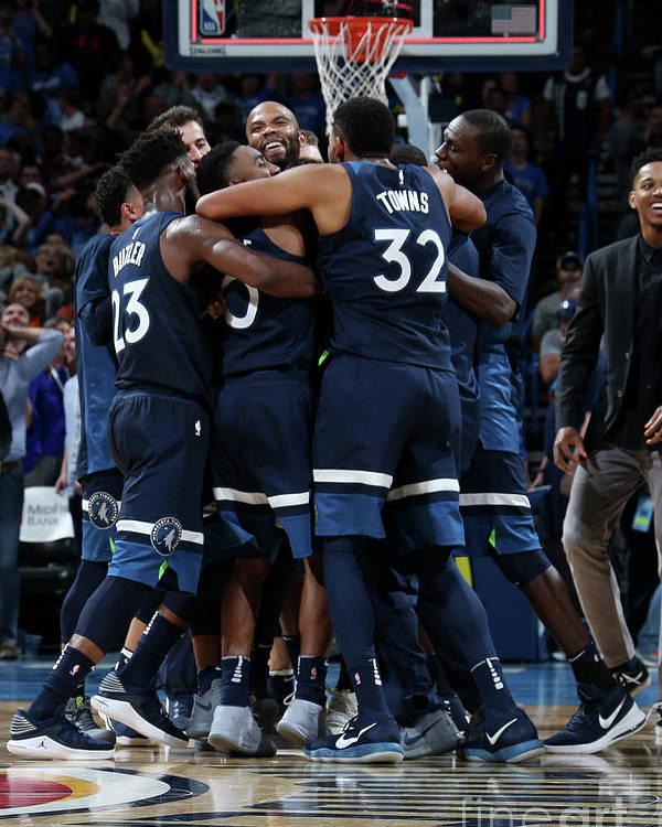 Nba Pro Basketball Poster featuring the photograph Minnesota Timberwolves V Oklahoma City by Layne Murdoch