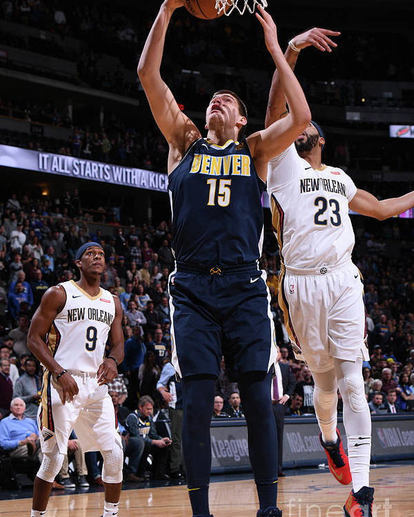 Nba Pro Basketball Poster featuring the photograph New Orleans Pelicans V Denver Nuggets by Garrett Ellwood